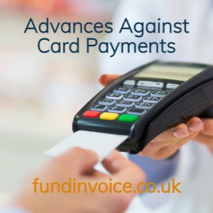 Retailer and shop finance through advances against card payments via your PDQ machine