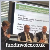 Glenn Blackman of FundInvoice during a panel discussion at the Alternative & Receivables Finance Forum 2019