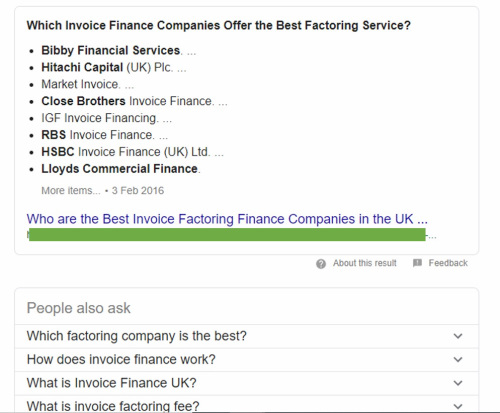 The top organic search result from Google for best invoice finance company.