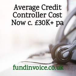 Average cost and annual salary of a UK credit controller.