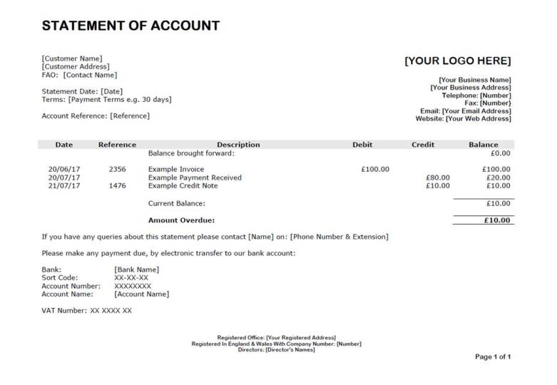 Fundinvoice  Example Of A Debtor Statement Of Account