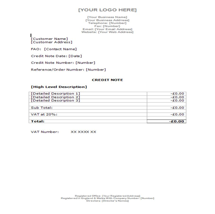 Example Invoice Example Credit Note  Proof Of Delivery Form Template