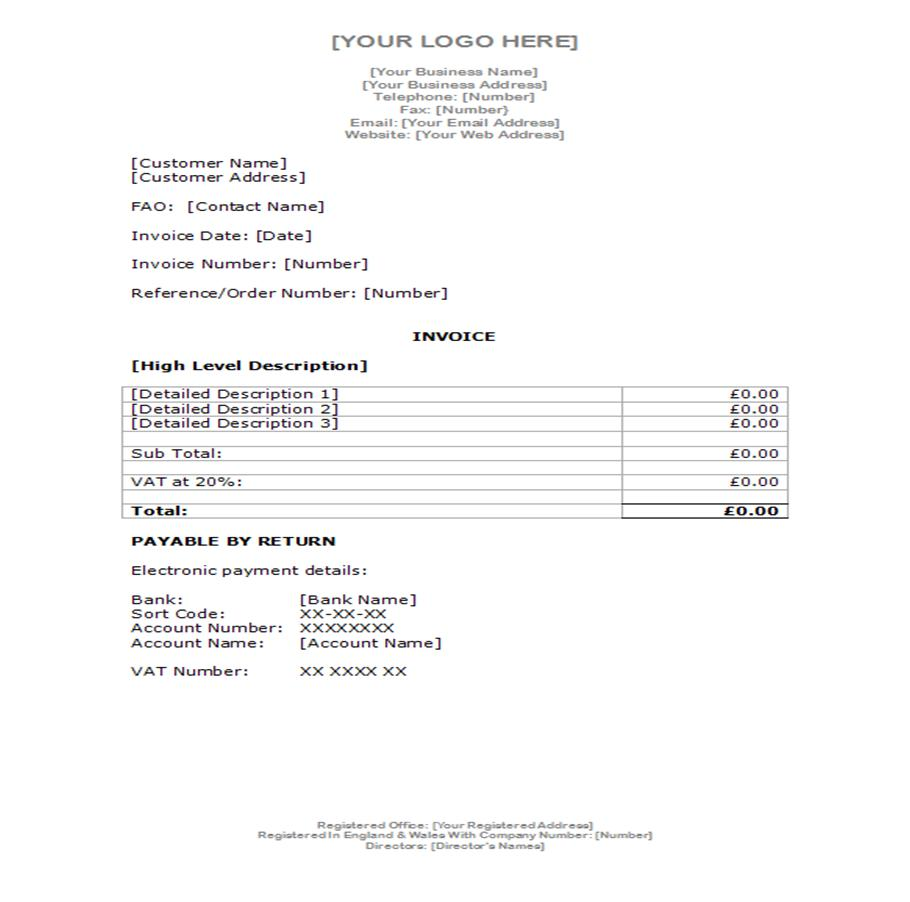 FundInvoice Examples Of Invoices And Credit Note Templates - Professional invoice template word