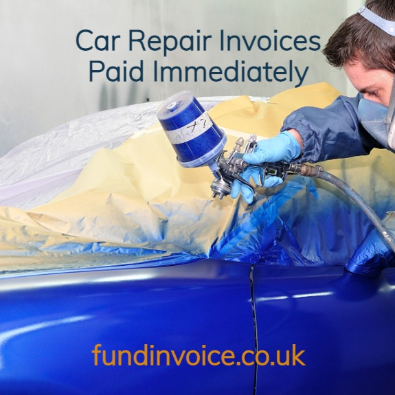 Factoring and invoice finance for garages and spray shops repairing cars for insurers.