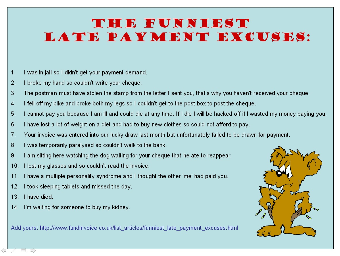 Funny Late Payment Excuses Image