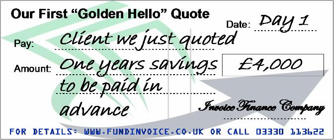 Golden Hello Invoice Finance Quote