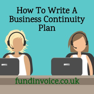 Writing a business continuity plan and disaster recovery.