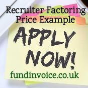 A factoring price example for a temp staff agency in recruitment.