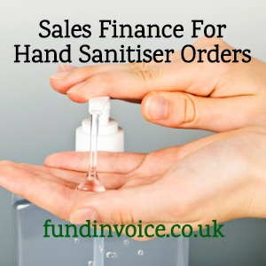 Sales finance for large orders of hand sanitiser gel due to coronavirus.